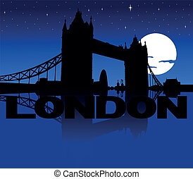 Tower Bridge moon illustration - Tower Bridge skyline...