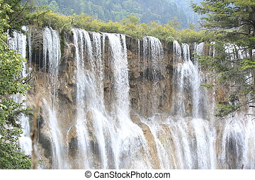 waterfall at jiuzhaigou - waterfall at jiuzhaigou national...