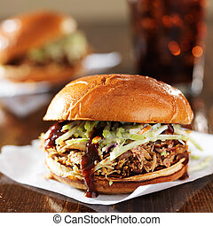 pulled pork sandwiches with bbq sauce and cole slaw