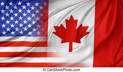 Flags - American and Canadian flags together