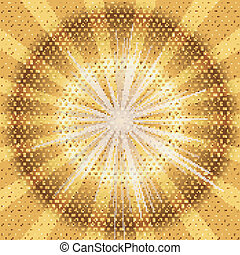 Burst rays golden background with