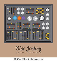DJ design over brown background, vector illustration