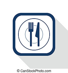 square blue icon plate and cutlery with long shadow - symbol...