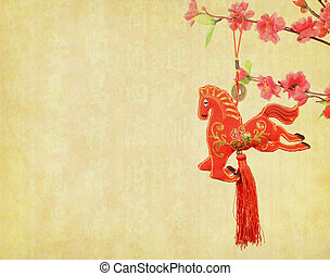 chinese horse knot on old paper background, word for...