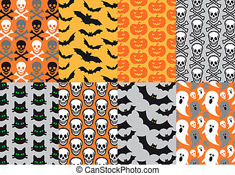 Halloween seamless patterns, vector - Halloween seamless...