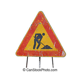 Road works sign - Road works in progress sign isolated over...