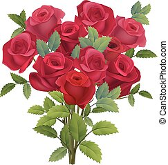 Realistic bunch of red roses