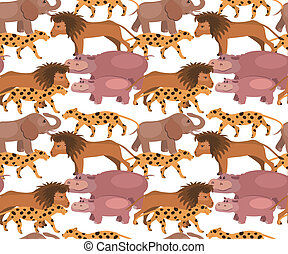 Seamless background with jungle  animals