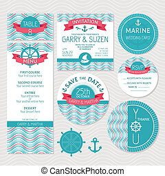 Set of marine wedding cards vector illustration