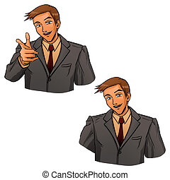 Business gesture by hand - Young businessman in grey suit...