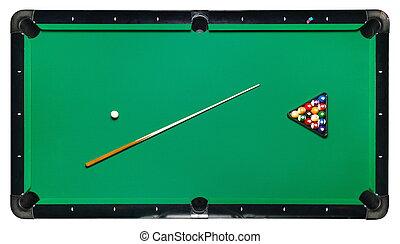 Isolated billiard table, top view. - Billiard table, top...