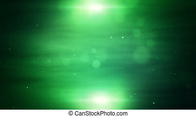 Green abstract background with motion particles