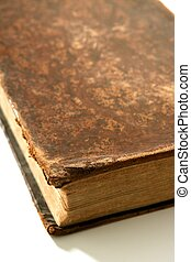 Ancient old aged brown book macro detail