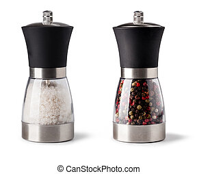 Salt and pepper grinder on white background