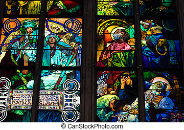Decal of St. Vitus Cathedral in Prague - Decal window...