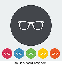 Sunglasses Single flat icon on the circle Vector...
