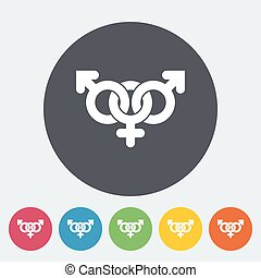 Group sex sign. Single flat icon on the circle. Vector...