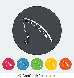 Fishing rod. Single flat icon on the circle. Vector...