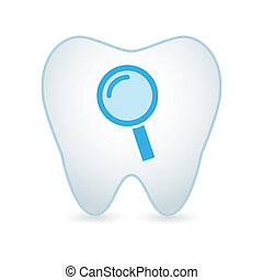 Tooth with a magnifier - illustration of an isolated tooht...
