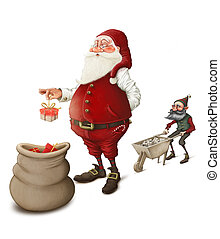 Santa Claus prepares gifts to Christmas night