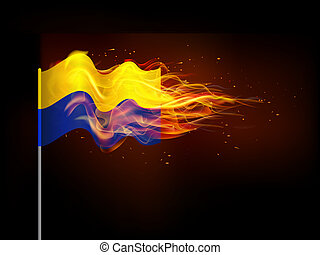 Ukrainian flag in flames. Illustrates the problem of armed...