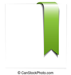 Fresh green ribbon - bookmark on a white sheet of paper