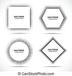 Set of Black Abstract Halftone Circles