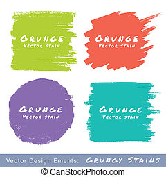 Set of Hand Drawn Flat Grunge Stains on White Background....