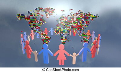 World and family. Loop animation, P - People Holding Hands...