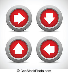 Set of arrow buttons, vector illustration
