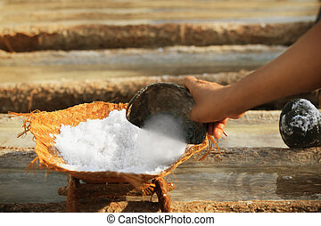 Work on the salt production - traditional method Bali,...