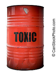 Toxic Waste Barrel - A Grunge Red Barrel Or Drum Filled With...