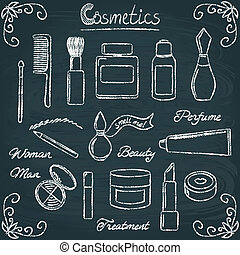 Chalkboard cosmetic bottles set 3 - Set of hand drawn...