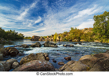 Mountain stream - Mountain fast flowing river stream of...