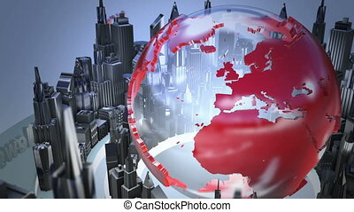 Broadcast world loop animation - 3D Computer generated globe...