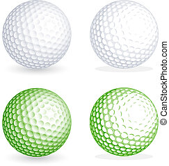 Vector golf Ball - Two hi detail golf balls, one shaded and...