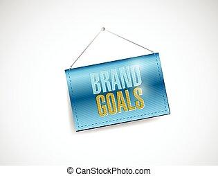 brand goals hanging banner illustration design over a white...