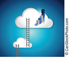 cloud ladders and blue graph illustration design over a...