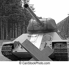 big tank warfare with large cannon in black and White - huge...