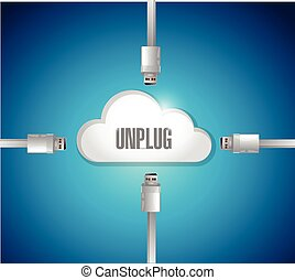 unplug from a cloud concept illustration design over a blue...