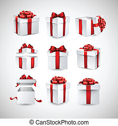 Set of realistic 3d gift boxes - Collection of 3d gift boxes...