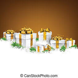Christmas background with gift boxes. - Abstract golden...