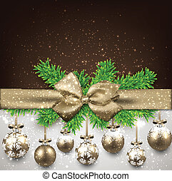 Abstract background with christmas balls. - Golden christmas...