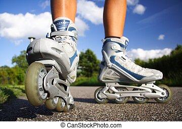 Rollerblades inline skates - Inline skates in action closeup...