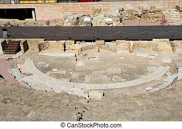 Ancient Roman Theatre near Malaga Alcazaba castle on Gibralfaro mountain, Andalusia, Spain. The place is declared UNESCO World Heritage Site