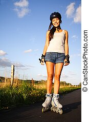 Woman on inline skates rollerblades - Woman on inline skates...