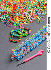 Rainbow loom bands - Colorful of elastic rainbow loom bands...