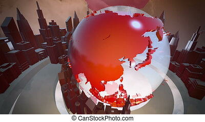 Broadcast earth globe animation