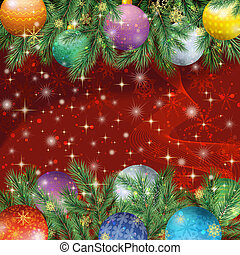 Christmas background with branches and balls - Christmas...