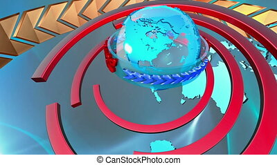 Broadcast earth globe animation - 3D Computer generated...